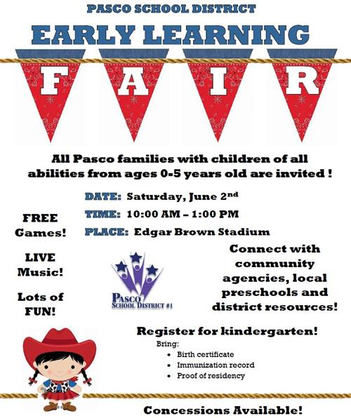 Pasco School District to Host Early Learning Fair on June 2