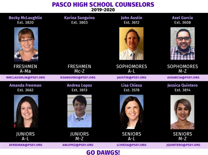 2019-2020 Pasco High School Counselors