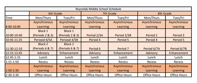 RMS Virtual Learning Schedule