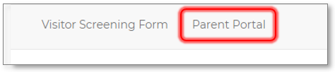 Image of menu bar and parent portal link circled in red.