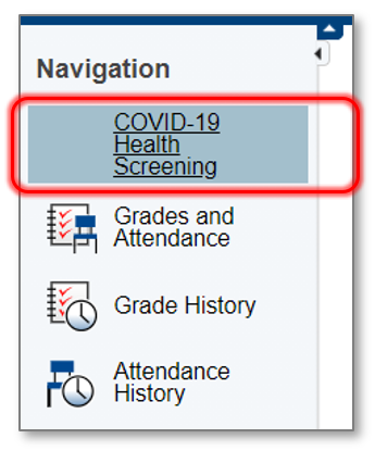Image of navigation pane and link to screening tool.