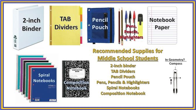 Middle School Student Supplies List