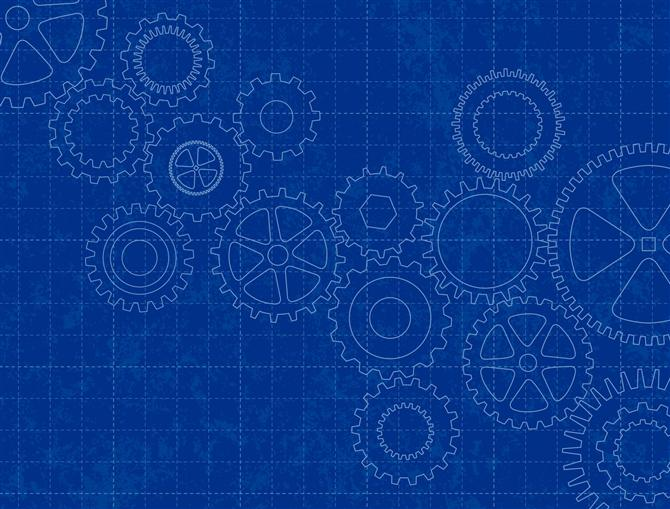 Blueprint with wheels and cogs