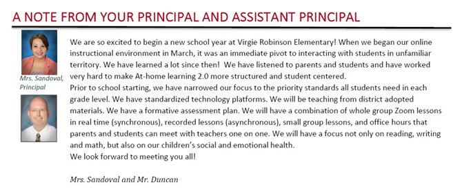 Message From Our Principals
