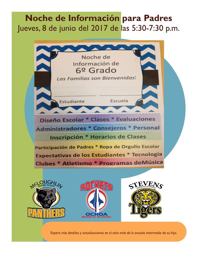 Spanish Flyer of Information Night for Middle School