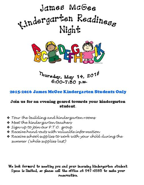 Kindergarten Readiness Night - Thursday, May 14, 2015