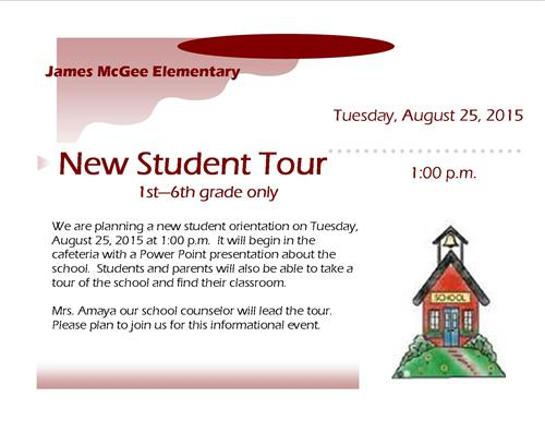 New Student Tour - August 25, 2015