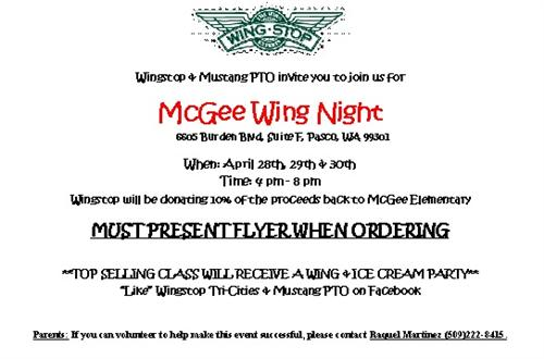 McGee Wing Night - April 28-30, 2015